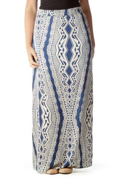 Cream Blue Tribal Print Maxi Skirt