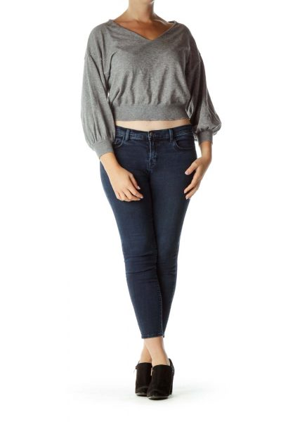 Gray Cropped V-neck Sweater