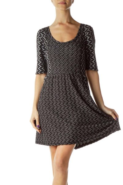 Black White Textured Woven Dress