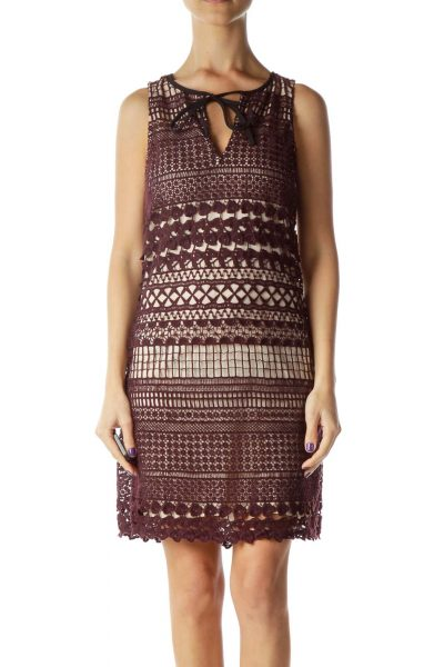 Burgundy Crocheted Sleeveless Dress