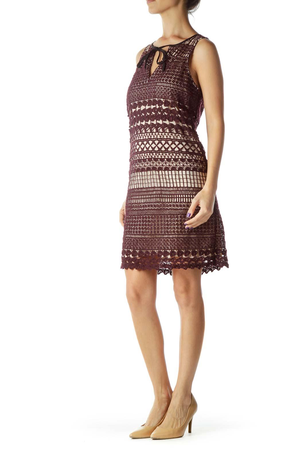 Burgundy Crocheted Sleeveless Dress