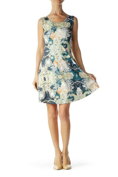 Green Yellow Gardenia Print Flared Dress