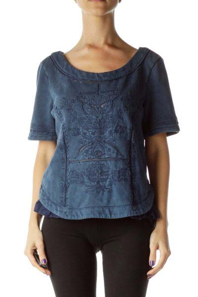 Navy Embossed Short Sleeve Sweatshirt