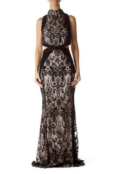 Black Lace Velvet Open Back Gown