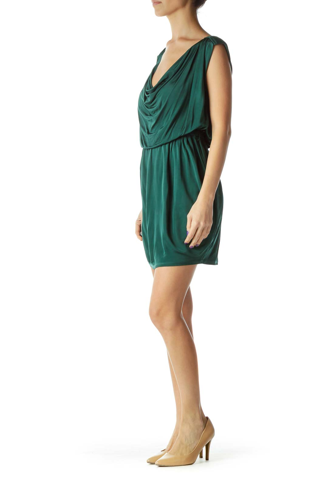 Green Round Neck Scrunch Detail Dress