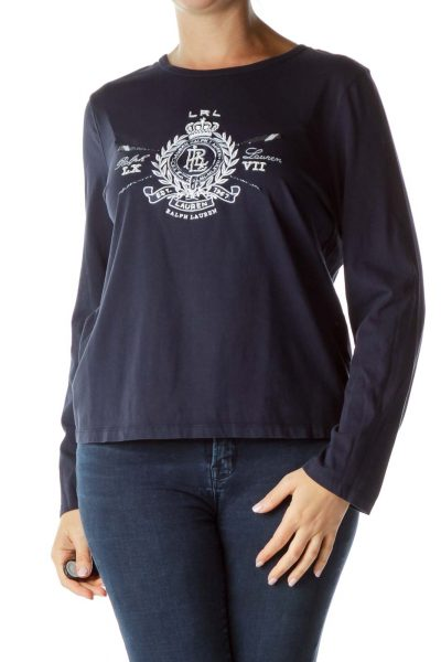 Blue Embroidered Monogram Shirt