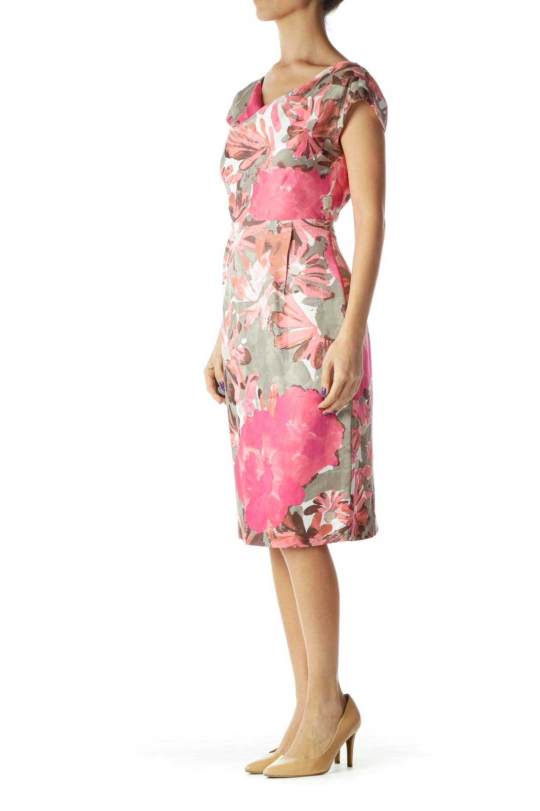 081649730 Shop Pink Brown Floral Print Sheath Dress clothing and handbags at ...