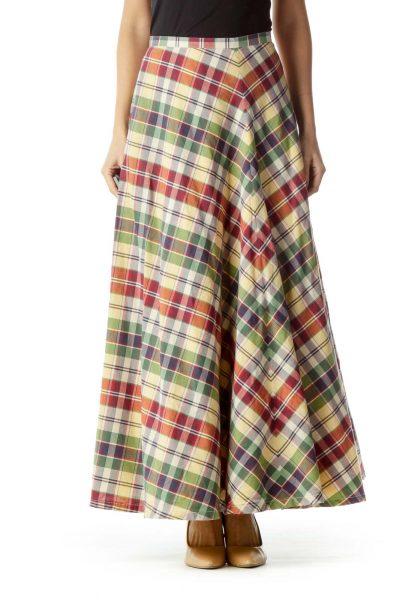 Red Green Yellow Checkered Maxi Skirt