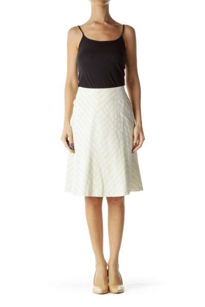 Beige Striped A-line Skirt