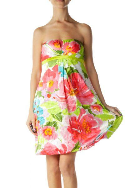 Pink Green White Strapless Silk Dresss