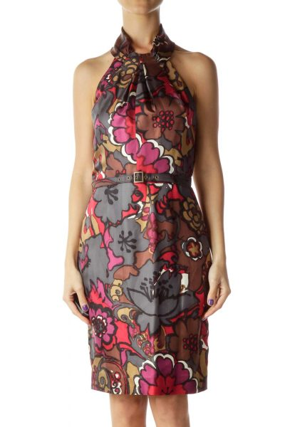 Purple Red Brown Flower Print Belted Dress