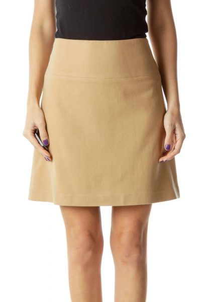 Beige Wool Mini Skirt