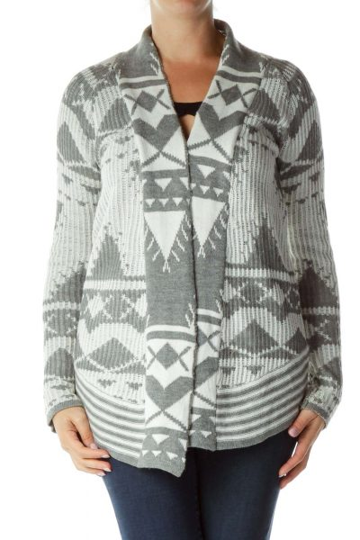 Gray White Printed Knit Sweater