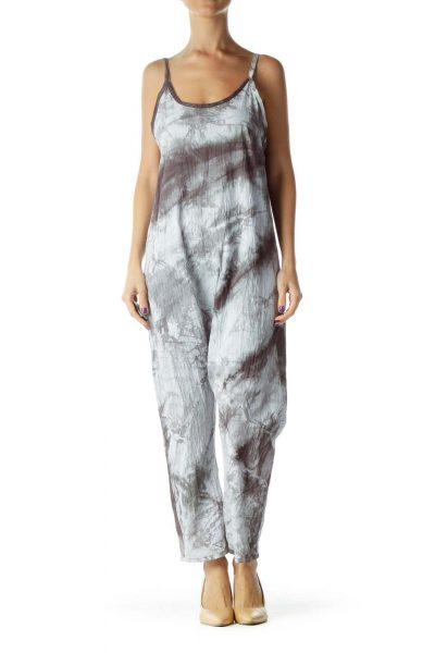 Gray Tie Dye Cropped Jumpsuit