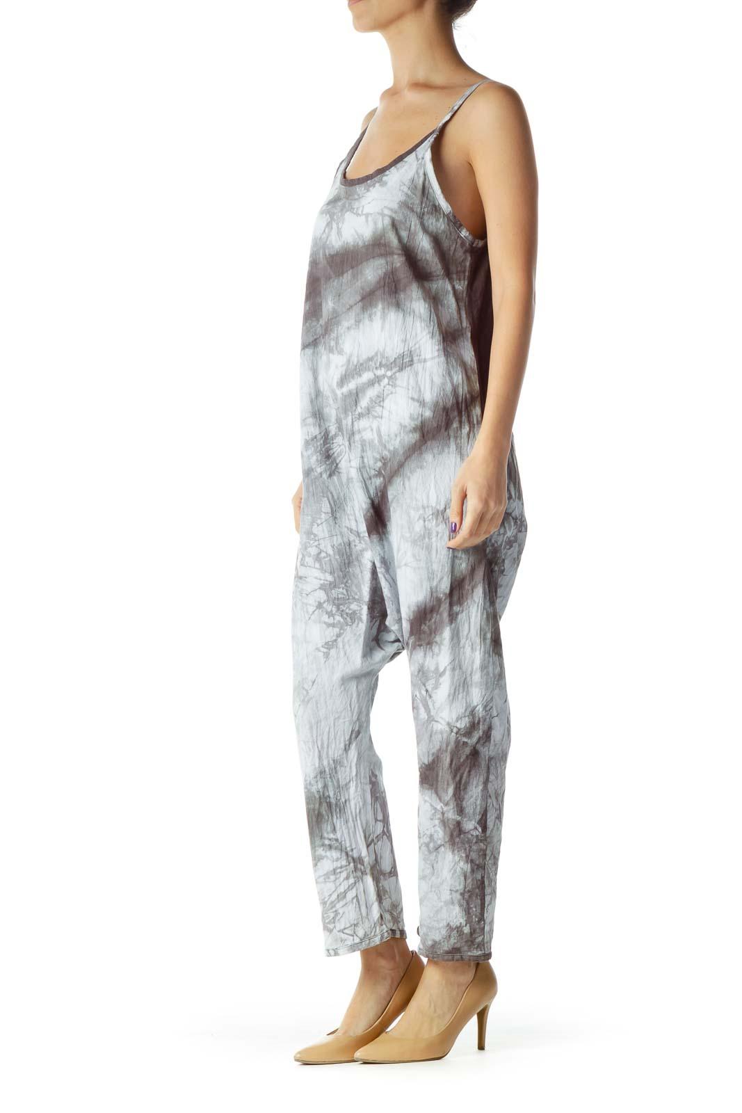 Gray Tie Dye Cropped Jumpsuit