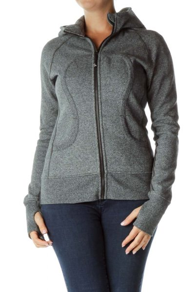 Gray Mottled Hooded Jacket