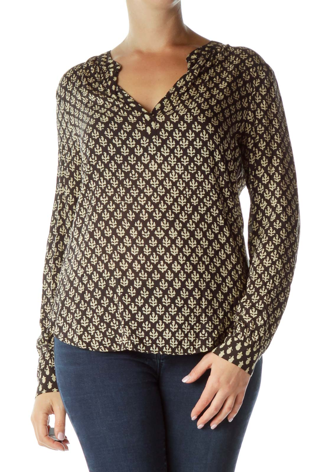 Black Beige Long Sleeve Print Shirt