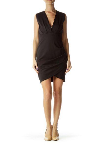 Black Pleated V-Neck Work Dress