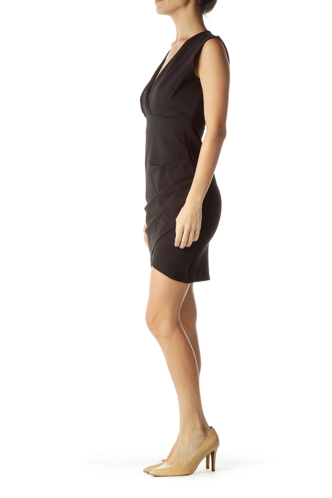 Black Pleated V-Neck Work Dress