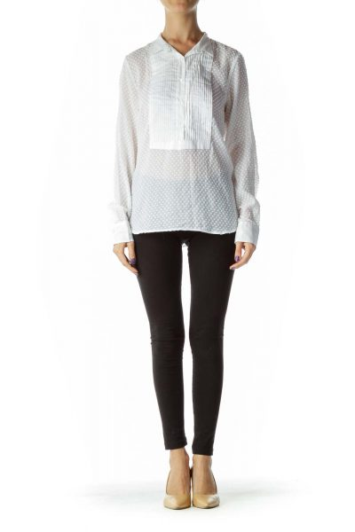White Sheet Polka Dot Pleat Detailed Textured Shirt