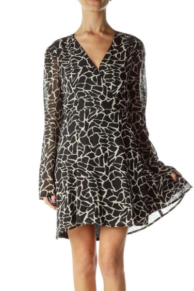 Black Beige Printed Long Sleeve Work Dress