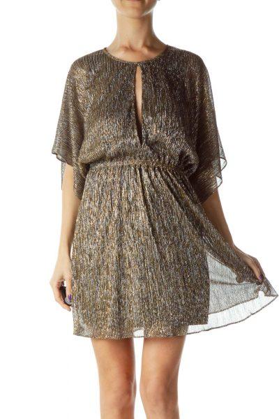 Gold Silver Metallic Open-Back Dress