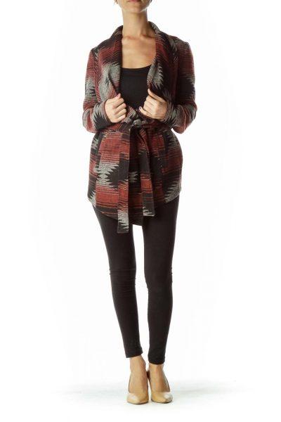Black Red Geometric Print Sweater