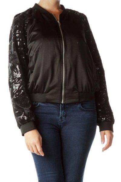 Black Sequined Bomber Jacket