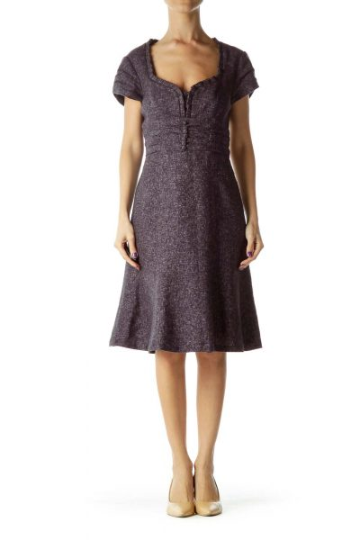 Purple Mottle Sweetheart Neck Work Dress