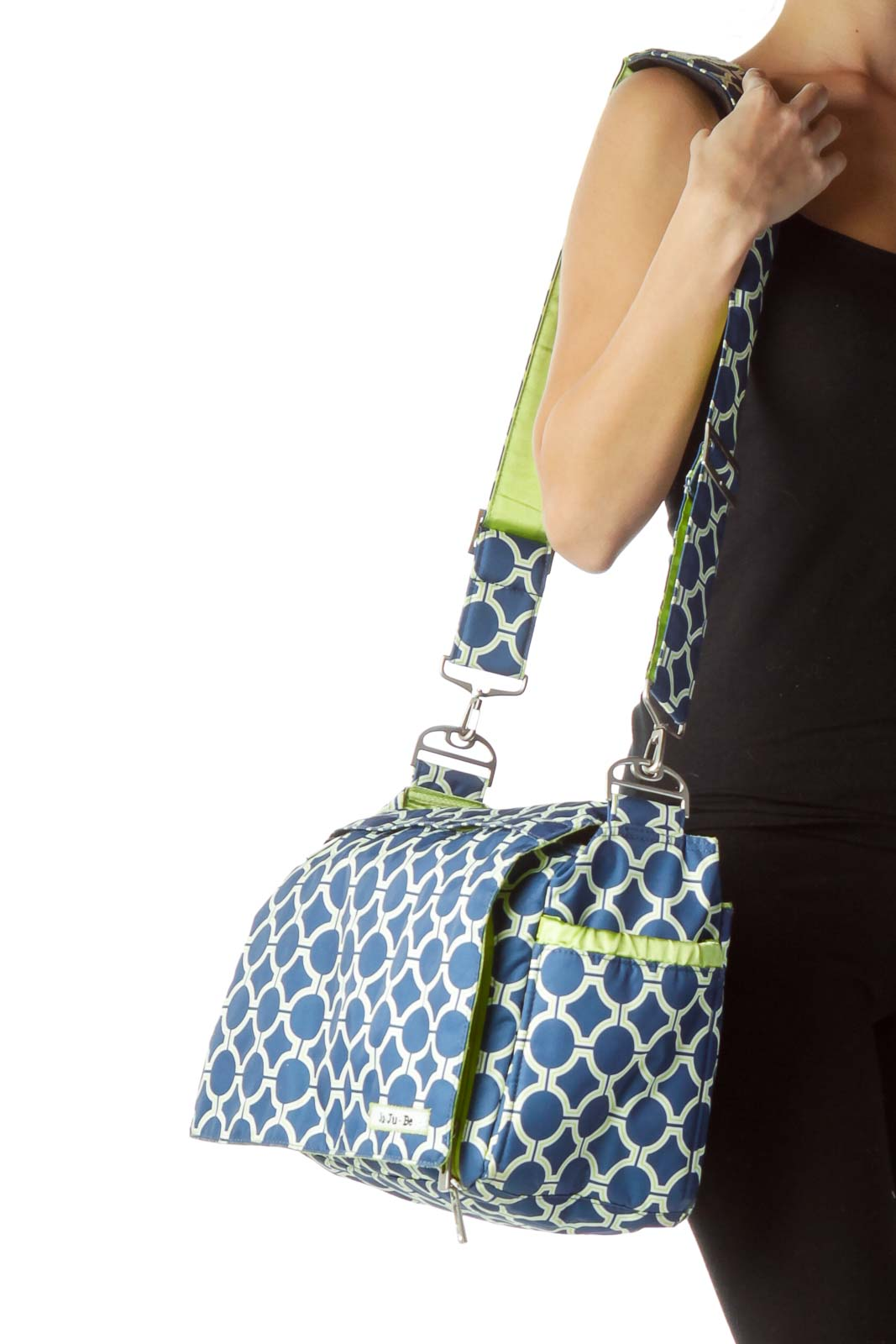 Blue Green Geometric Print Diaper Bag