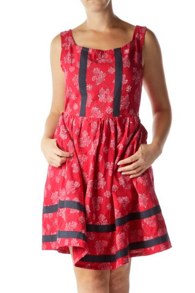 Red White Flower Print Work Dress