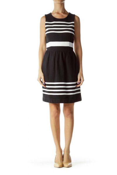 Black White Striped Work Dress