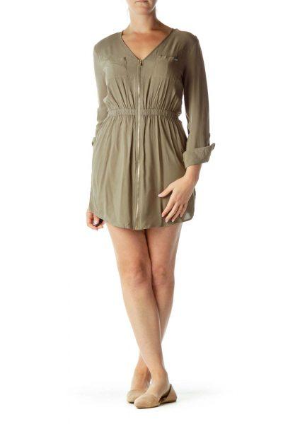 Dark Green Day Dress
