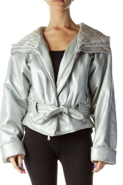 Silver Hooded Metallic Coat