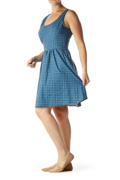 Blue Plaid Pocketed Day Dress