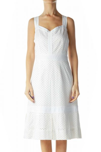 White Eyelet Pleated Work Dress