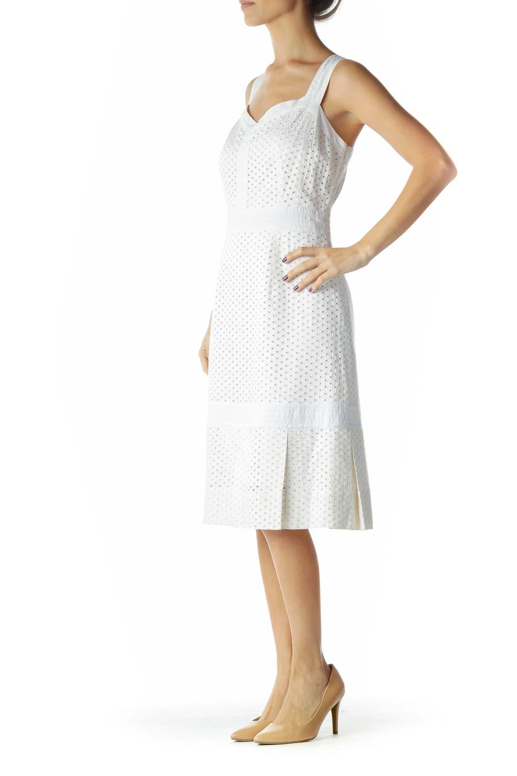 White Eyelet Pleated Work Dress