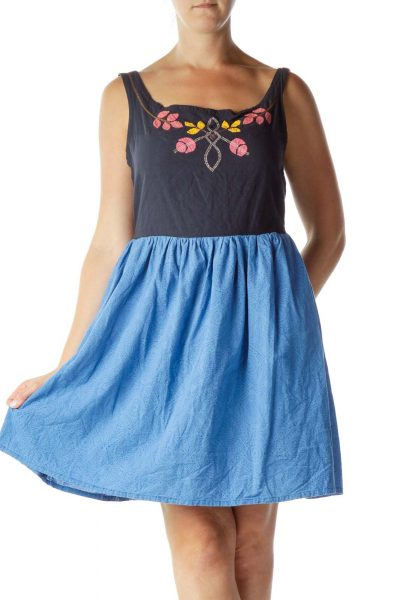Blue Embroidered A-Line Day Dress