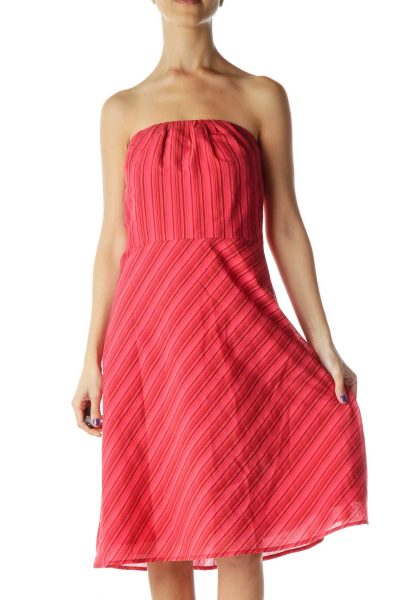 Red Pinstripe Strapless Dress