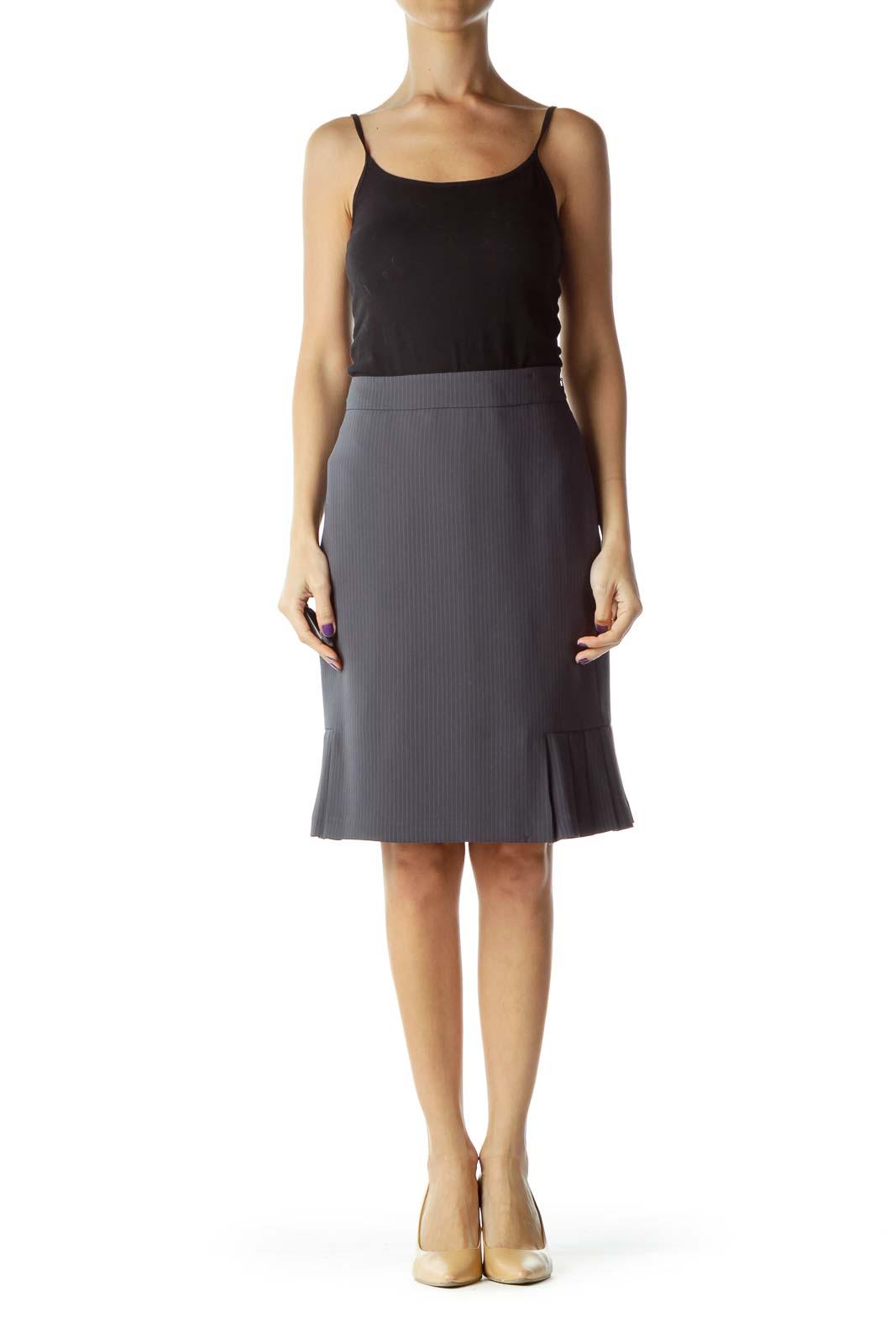 Gray Pinstripe Pleat Detail Skirt