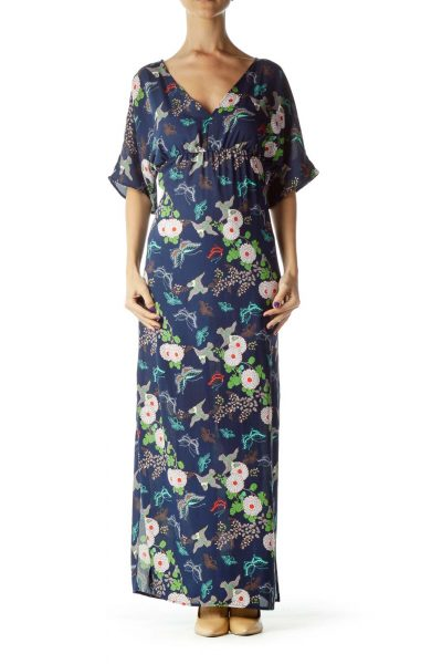 Blue Bird Print Maxi Dress