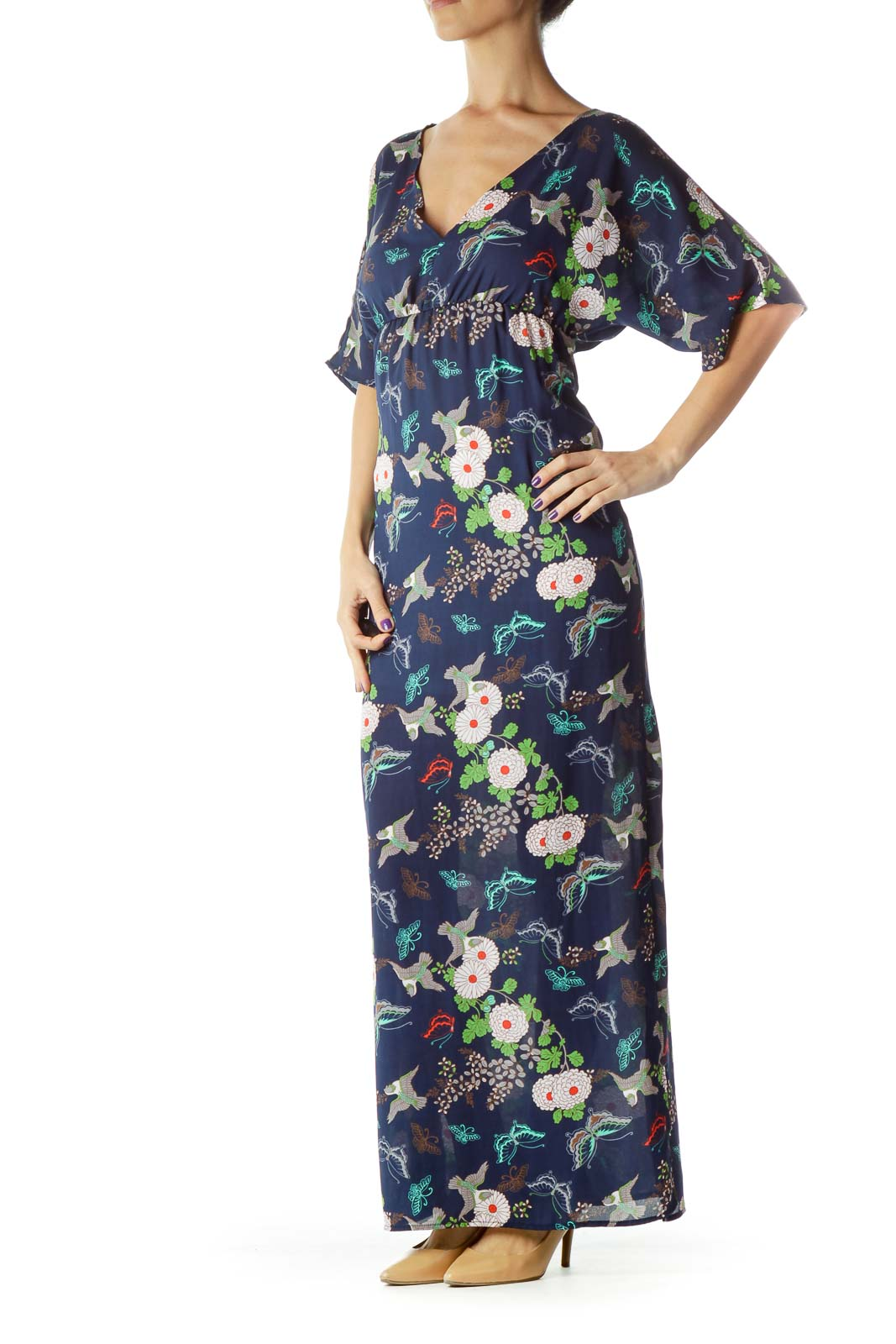 Blue Bird Print Maxi Dress