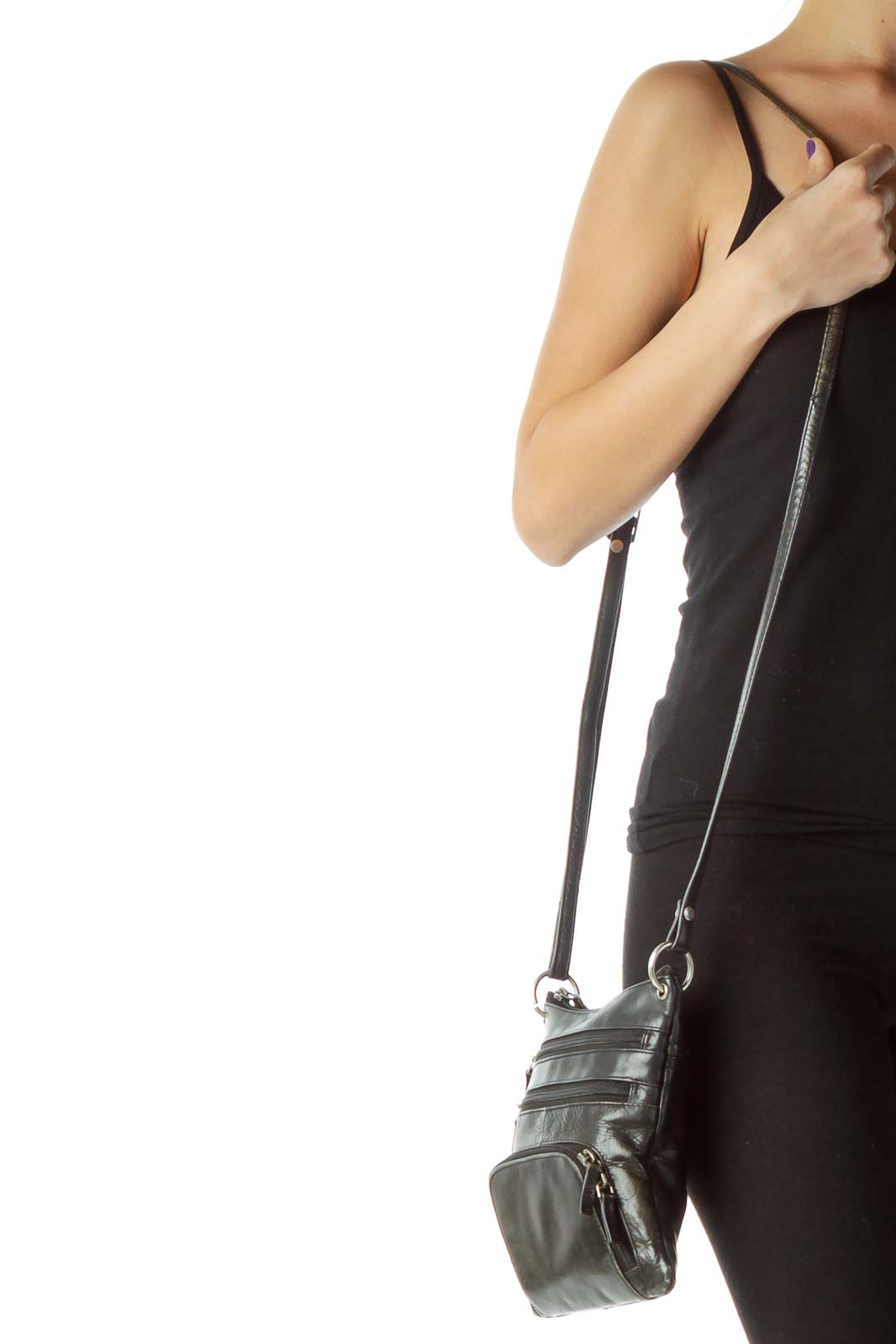 Black Crossbody Pocketed Bag