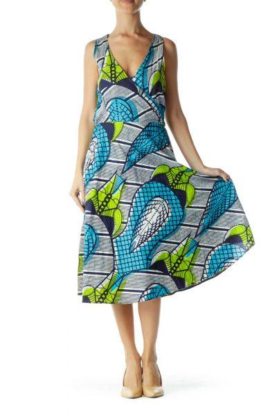 Blue Green Printed V-Neck Day Dress