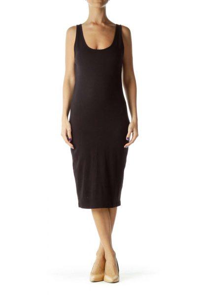 Black Jersey Knit Tank Top Dress