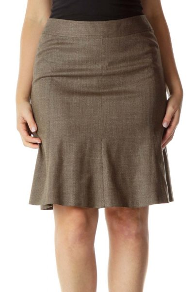 Brown Wool A-line Skirt