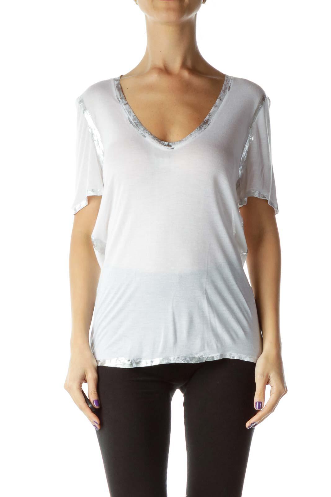 White Silver Metallic V-Neck T-Shirt