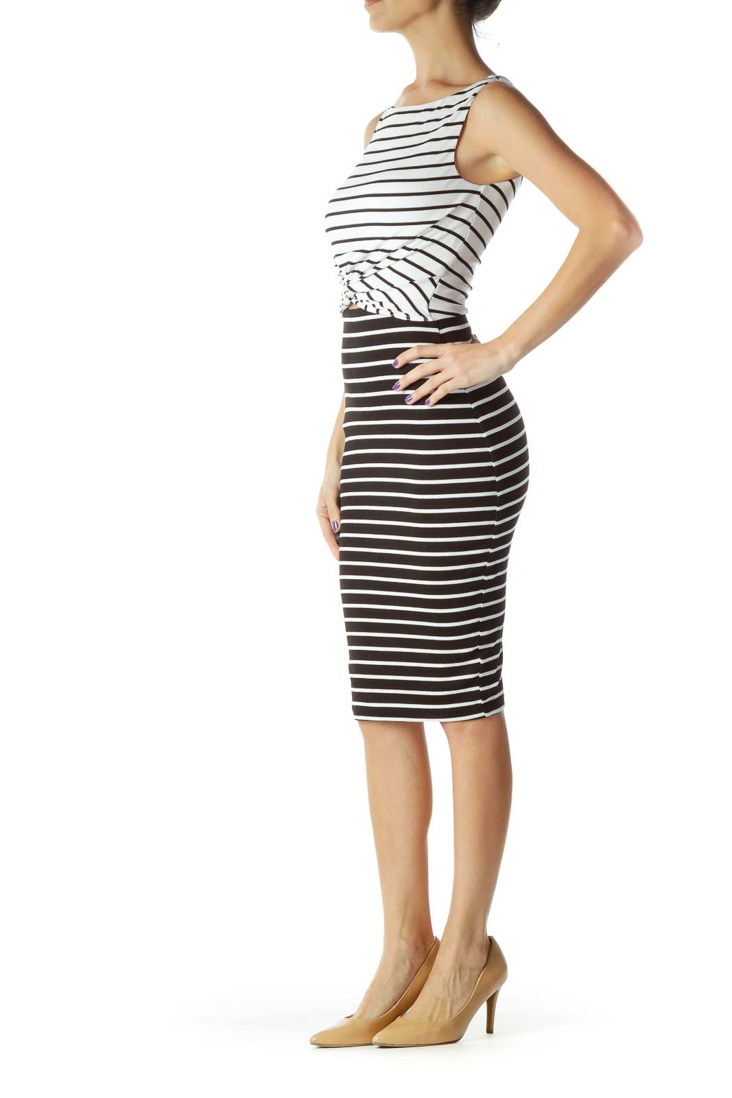 Black White Striped Knit Dress