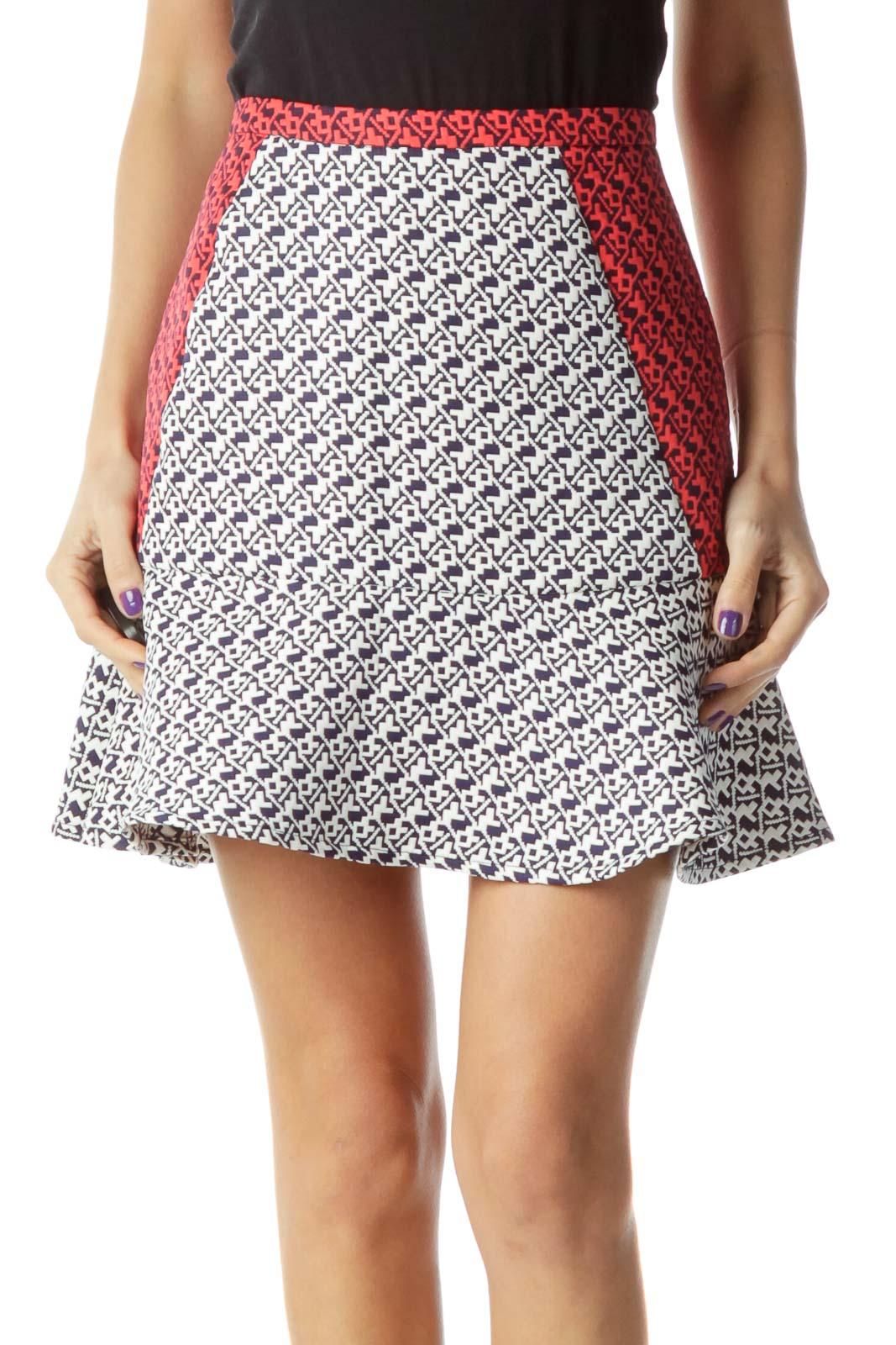 White Navy Red Flared Skirt