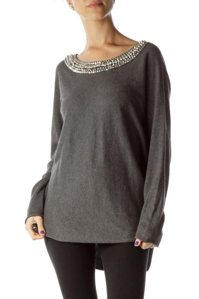 Gray Bejeweled Knit Top